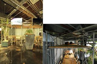 足場を組んだミーティングルーム 右写真は屋根裏部屋風スペース