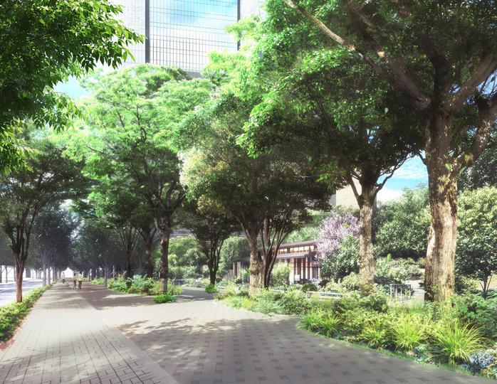 街路樹空間から高層棟を望む(イメージ)