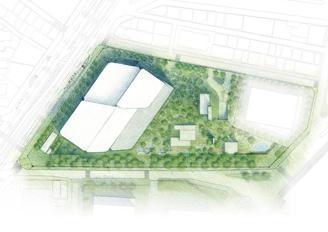 敷地の中央に大胆に緑地を設けた配置計画