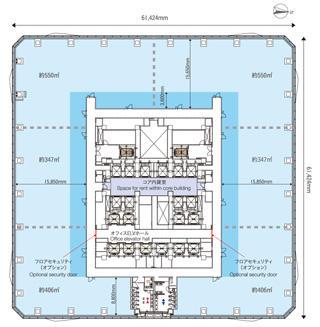 Aブロック基準階(15階)の平面図