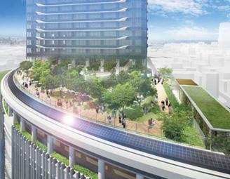 建物中層の屋上に拡がる緑あふれる庭園