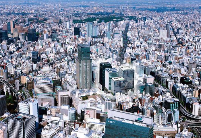 日本橋全域の鳥瞰(イメージパース)