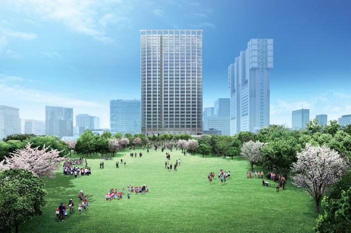 広大な緑地と一体となったオフィスビル