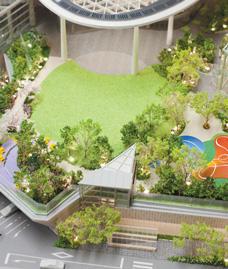 広大な公開空地に展開する緑の空間