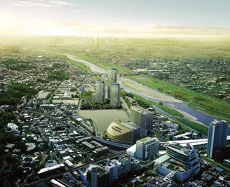 二子玉川東地区第一種市街地再開発事業全景(完成予想CG)